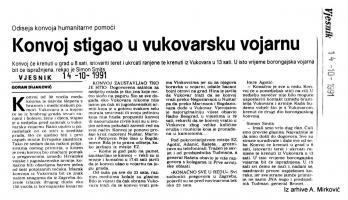 članak Konvoj stigao u vukovarsku vojarnu