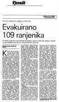 članak Evakuirano 109 ranjenika